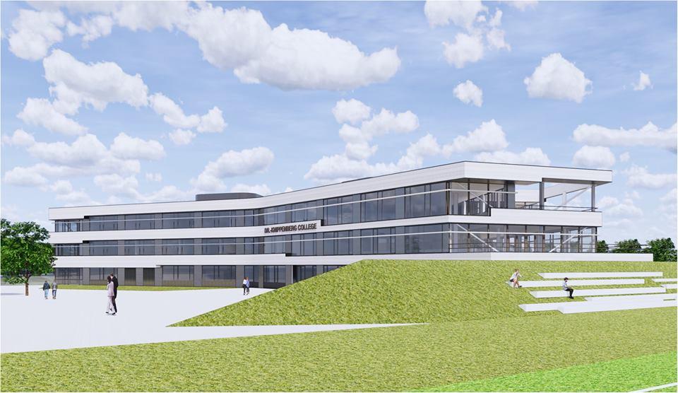 Een beeld van hoe het gebouw en de omgeving van het Dr. Knippenberg eruit gaat zien.