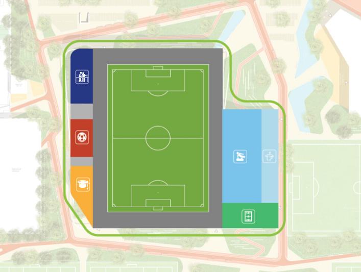 Plattegrond van indeling Multifunctionele Sportaccommodatie op Campus de Braak